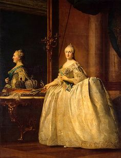 Эриксен, Вигилиус  Портрет Екатерины II перед зеркалом. Между 1762 и 1764 гг. ГЭ   Холст, масло. 262,5 x 201,5