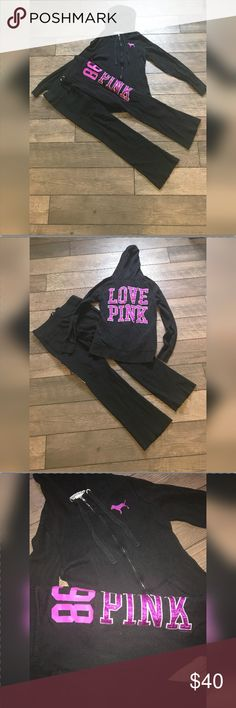 Victoria's Secret set. XS top. S bottom. Super comfortable Victoria's Secret set. zipper up hooded sweatshirt is a size extra small, fits more like a small. Loose leg sweatpants to match are a size small. 💜🖤 love this set!! PINK Victoria's Secret Tops Sweatshirts & Hoodies