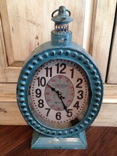 Country BLUE CLOCK*Lantern Metal Desk/Table*Primitive/French Country*Grand Hotel #NaivePrimitive