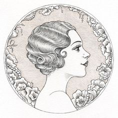 "Busy Drawing Illustration Blog: 1920s glamour girl for Illustration Friday: ""Yesterday"" by Laurie A. Conley"
