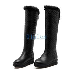 01 Womens Knee High Boots Fur Trim Winter Snow Riding Shoes Wedge Heels Platform
