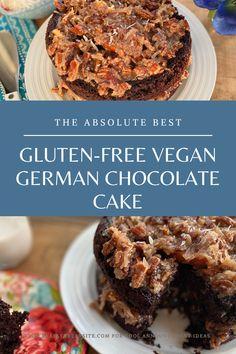 Gluten Free Cooking, Gluten Free Desserts, Vegan Desserts, Vegan Gluten Free, Gluten Free Recipes, Dairy Free, Round Cake Pans, Round Cakes, German Chocolate