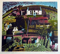 """Devon Farmyard"" by Mary Sumner (linocut)"