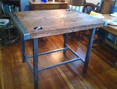 Steel-based high boy kitchen dinette table – Liberty ship hatch cover