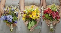 I like the idea of having a different color/two or three colors of bouquet for each of the bridesmaids.