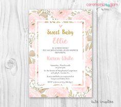 Girl baby shower invitation pink flower gold and por ceremoniaGlam