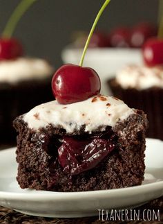 Black Forest Cupcakes – (Grain-free, Gluten-free, Dairy-free option) - Texanerin Baking , the only sugar is optional in the whipped topping (powdered), could sub. Gluten Free Cupcakes, Gluten Free Sweets, Gluten Free Baking, Paleo Dessert, Healthy Sweets, Vegan Desserts, Delicious Desserts, Cupcake Recipes, Cupcake Cakes