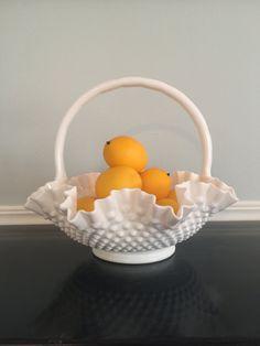 Vintage Fenton Hobnail milk glass basket, bid, large fruit basket, centerpiece milk glass basket by VintageSowles on Etsy