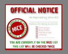Elf on the Shelf Nice List Certificate {free printable} ~ Fill out . Note Card Template, Santa Letter Template, Santa Letter Printable, Card Templates, Templates Free, Naughty Or Nice List, Santa's Nice List, Au Pair, Elf On The Shelf