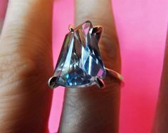 Blue Topaz Crystal Solitaire Ring Sterling by BonTonContemporary