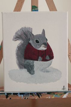"Squirrel in Sweater Original 8""x10"" Canvas Painting in Acrylic - ""My Nuts Are Freezing"" by NotesAndBolts on Etsy"