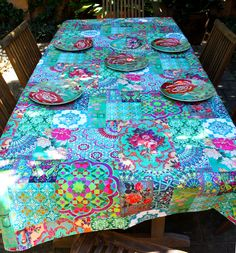 Patchwork Green canvas tablecloth from Anna Chandler Design, Australia.