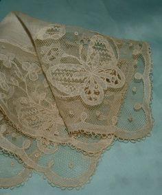 Antique net lace handkerchief with butterflies