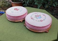 BEST PRICE $96.36 PAIR LOVELY VICTORIAN STYLE ROUND FOOTSTOOLS~FLORAL TAPESTRY & VELVET~BUN FEET, #Antique_Wood_Furniture #Vintage_Wood_Furniture Antique Wood, Old Wood, Vintage Wood, Vintage Furniture For Sale, Rustic Wood Furniture, Victorian Fashion, Velvet, Tapestry