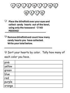 Blindfolds, bowls of conversation hearts, plastic tweezers- LOVE IS BLIND Valentine Math Game Valentine Games, Valentines Day Party, Converse With Heart, Math Games, Blind, School Stuff, Classroom Ideas, Conversation, Bowls