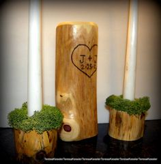Rustic Mossy Woodland Wedding Unity Candle by RonsRusticWoods, $55.00