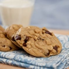 Peanut butter cookies loaded up with chocolate chips and coarsely chopped peanuts.