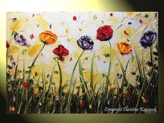 Original Modern #Art Abstract #Painting Poppy #Flowers Colorful Red, Orange, Gold, Purple, White Floral Paintings Textured Impasto Palette Knife Contemporary Fine Art #Home Decor Wall Art by Collected Artist Christine Krainock