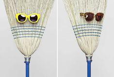 Karen Walker's Sun Glasses Lookbook. Brooms & Mops as props- Ha!