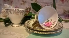 Dainty Royal Crown Derby Teacup and Saucer ( set of two) - Tea for Two- English Bone China - Vine (Floral) - Vintage tea cups, Circa 1930's - pinned by pin4etsy.com