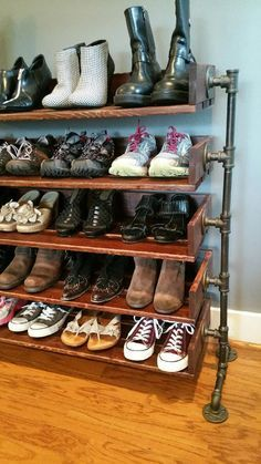 Rustic Wood Shoe Shelves with Pipe Stand Legs by ReformedWood on Etsy www.c… - Regal Selber Bauen Wood Shoe Storage, Diy Shoe Rack, Shoe Shelves, Shelving, Storage Rack, Storage Ideas, Shoe Racks, Glass Shelves, Extra Storage