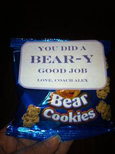 "Cheerleading competition gift. Good job treat   ""You did a BEAR-y good job""  Chocolate chop teddy bear cookies"