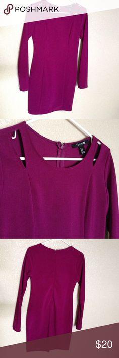 Forever 21 purple dress Forever 21 purple cut out shoulder dress Forever 21 Dresses Midi