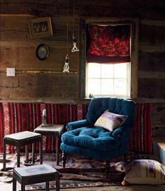 bright velvet furniture + dark walls