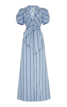Puff-Sleeve Striped Cotton-Blend Maxi Dress by Rosie Assoulin Classy Outfits, Outfits For Teens, Casual Outfits, Cute Outfits, Cute Dresses, Beautiful Dresses, Casual Dresses, Fashion Dresses, Women's Dresses