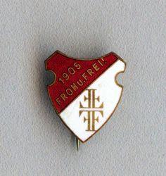 Vintage old Denmark badge of the Denmark Luteranian Church 1905 with enamel
