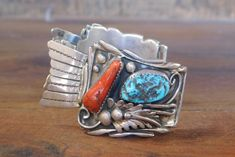 Coral Stone, Turquoise Stone, Navajo, Watch Bands, Turquoise Bracelet, Watches, Sterling Silver, Bracelets, Gap