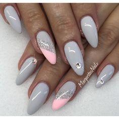 Grey pink glossy nails