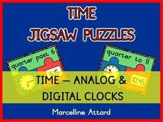 TIME JIGSAW PUZZLES-QUARTER TO AND QUARTER PAST - ANALOG & DIGITAL
