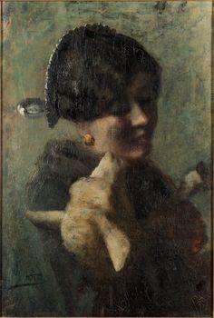 'Ragazza con un agnellino in braccio' (Girl with lamb in his arms), Giovanni Segantini