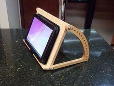 iPad Stand - Square Holder in Natural Oak Wood, Personalization available -Wooden iPad Stand - Square Holder in Natural Oak Wood, Personalization available - Adjustable Tablet Stand Ideas Creativas ( Wooden Projects, Woodworking Projects Diy, Woodworking Jigs, Diy Wood Projects, Wood Crafts, Japanese Woodworking, Wood Ipad Stand, Ipad Holder, Tablet Stand