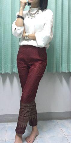 Thai silk pants. Work Look!!! Can make with sari fabric!!