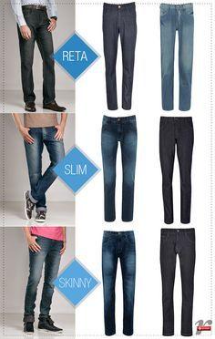 Tipos de calças masculinas.