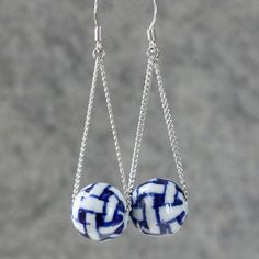 Indigo ceramic swing dangle Earrings handmade ani by AniDesignsllc, $9.95