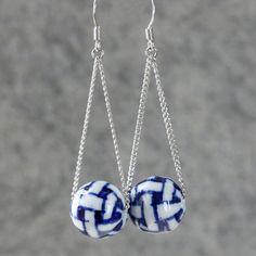 Linear long Indigo ceramic swing dangle Earrings by AnniDesignsllc