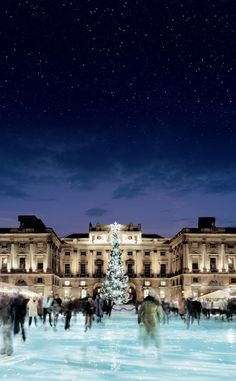 Somerset House Ice Rink in London  You can smell the sausages, hear the winter music - delightful!