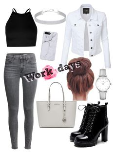"""""""Work dayss"""" by neasstyle ❤ liked on Polyvore featuring Boohoo, MICHAEL Michael Kors, CLUSE and Swarovski"""
