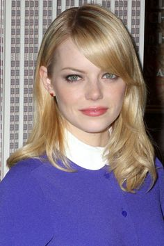 Meet Me Halfway: Our Fave Shoulder-Grazing Coiffs #refinery29  http://www.refinery29.com/33628#slide2  Emma Stone's deep side-part makes her gorgeous eyes pop, while the curled ends sweeten up her sweeping bangs.    Photo: Greg Allen/Rex USA