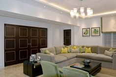 Chic Living Room with Greenish-Yellow Interior | JHR Interiors