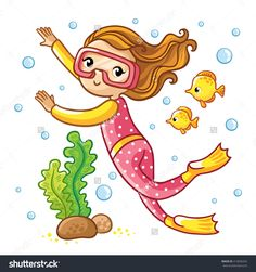 Scuba Diving. Girl swimming under water with fish. Snorkeling girl isolated on white background, vector illustration.