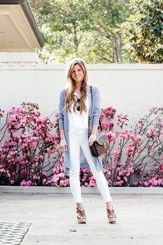 how to wear long cardigan in spring, all white outfit