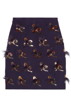 Marc Jacobs|Appliquéd wool-blend skirt|NET-A-PORTER.COM