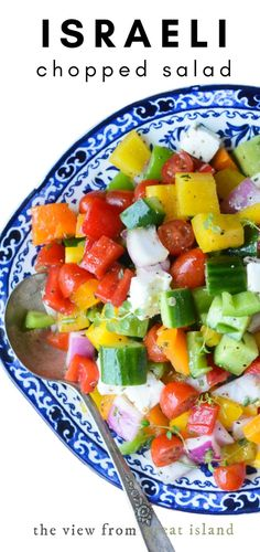 Israeli Chopped Salad this healthy chunky chopped salad is the perfect dish for summer gatherings because there's no mayo to spoil and the veggies retain their crunch for days. Lettuce Salad Recipes, Pasta Salad Recipes, Healthy Salad Recipes, Veggie Recipes, Lunch Recipes, Beef Recipes, Vegetarian Recipes, Cooking Recipes, Savory Salads