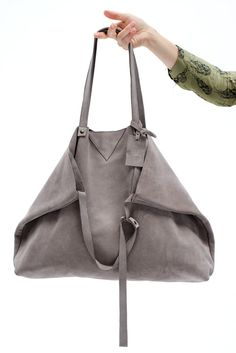 New big bag NILLA color grey - leather suede - with extra dipla xl clutch inside www.jeebags.com
