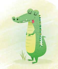 Nursery art alligator print kids illustration by IreneGoughPrints