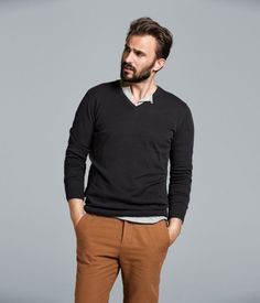 Always a fan on collared shirts under sweaters, and the color of those pants are gorgeous. Sort of a rusty orange color.